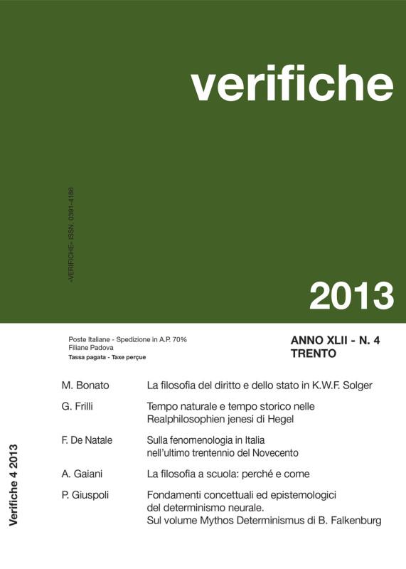 Nuovo numero di Verifiche - Anno XLII, N. 4 Dicembre 2013
