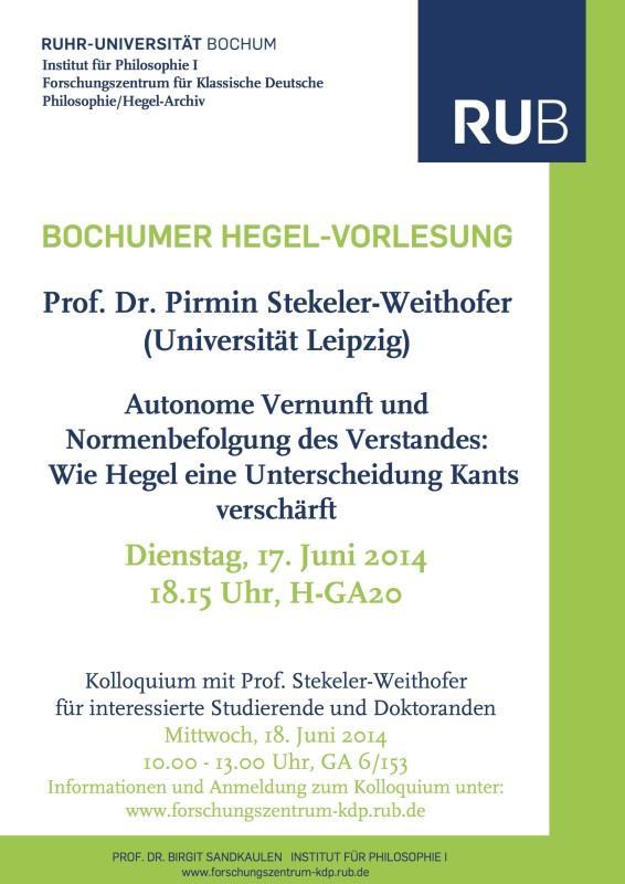 """Lecture: Pirmin Stekeler-Weithofer, """"Autonome Vernunft und Normenbefolgung des Verstandes"""" (Ruhr-Universität Bochum, 17th June 2014)"""