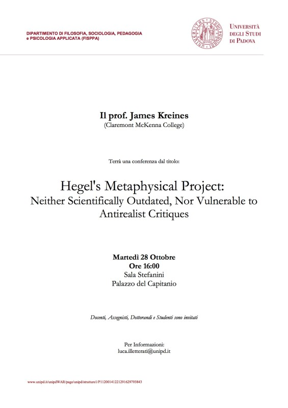 "Talk: James Kreines on ""Hegel's Metaphysical Project"" (Padova, Oct. 28th 2014)"