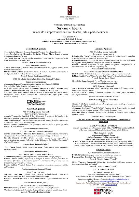 Sistema e libertà. Razionalità e improvvisazione tra filosofia, arte e pratiche umane (Università di Torino, 28-31 gennaio 2015)