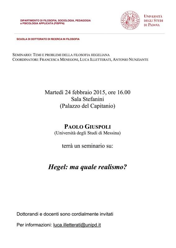 """Temi e problemi della filosofia hegeliana: Paolo Giuspoli, """"Ma quale realismo?"""" (Padova, 24 febbraio 2015)"""