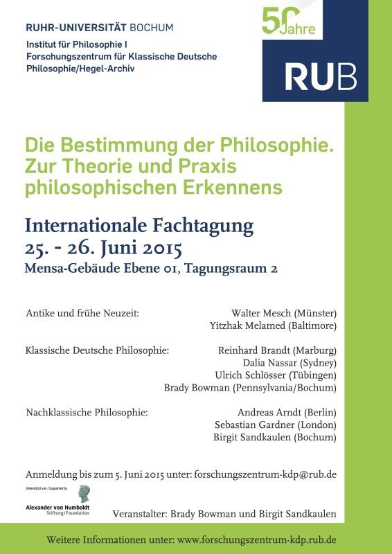 """Conference: """"Die Bestimmung der Philosophie"""" (Bochum, June 25-26, 2015)"""