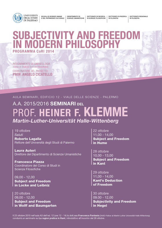 Subjectivity and freedom in modern philosophy - series of seminars held by prof. Heiner F. Klemme at University of Palermo