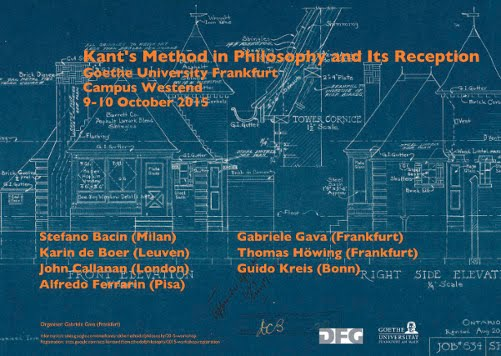 "WORKSHOP: ""KANT'S METHOD IN PHILOSOPHY AND ITS RECEPTION"" (FRANKFURT, OCTOBER 9-10)"