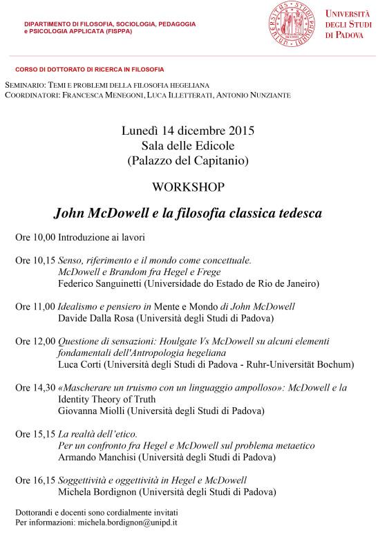 Workshop: John McDowell e la filosofia classica tedesca (Padova, 14 dic. 2015)