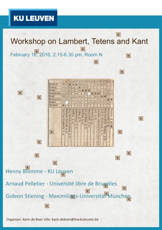"Workshop on ""Lambert, Tetens and Kant"" (Leuven, February 16th, 2016)"