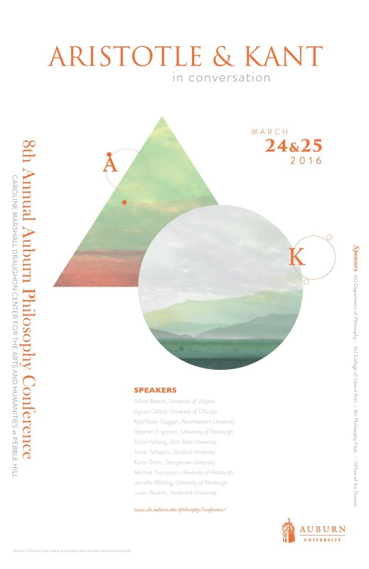 "Conference: ""Aristotle and Kant in Conversation"" (Auburn, March 24th-25th, 2016)"