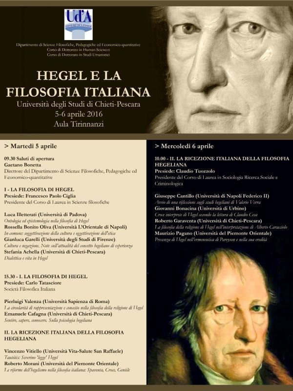 """Convegno: """"Hegel e la Filosofia Italiana"""" (Chieti, 5-6 aprile 2016)"""