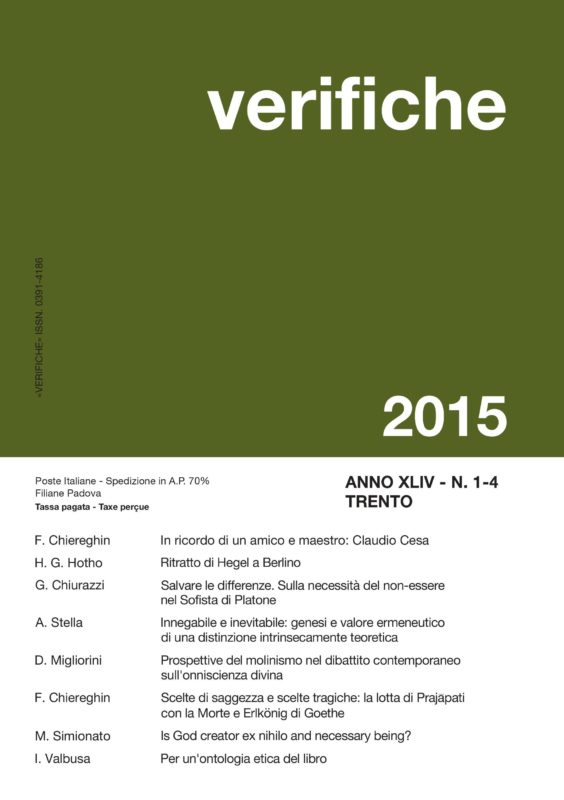 Nuovo numero di «Verifiche» - Anno XLIV, N. 1-4 Gennaio-Dicembre 2015
