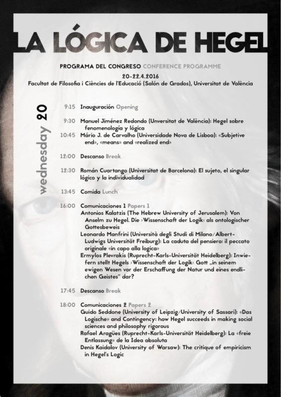 """Conference: """"La lógica de Hegel"""" (Universitat de València, April 20th-22th, 2016)"""