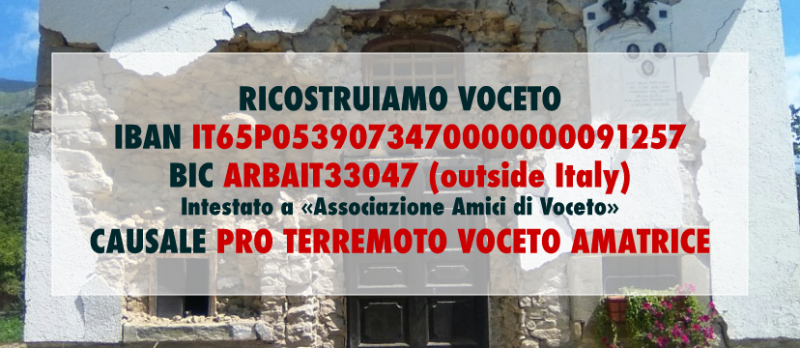 Crowdfunding: Let's help Voceto to be rebuilt after the earthquake in central Italy