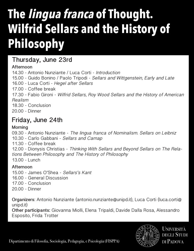 "Workshop: ""The lingua franca of Thought. Wilfrid Sellars and the History of Philosophy"" (Padua, 23-24th June) 1"