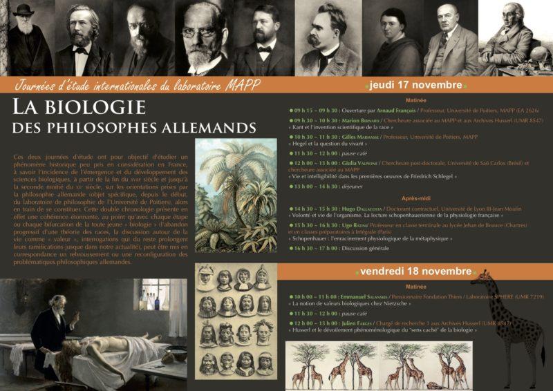 CONFERENCE: La biologie des philosophes allemands, November 18-19, 2016, Université de Poitier 1