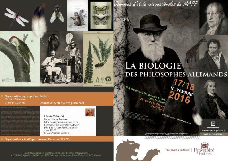 CONFERENCE: La biologie des philosophes allemands, November 18-19, 2016, Université de Poitier 2