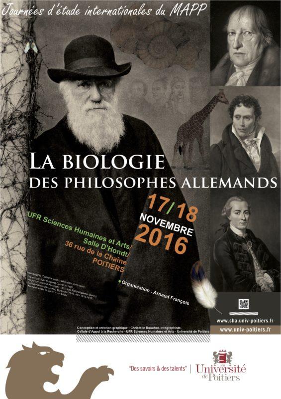 CONFERENCE: La biologie des philosophes allemands, November 18-19, 2016, Université de Poitier