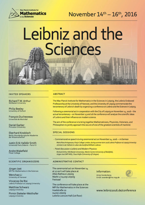 Conference: Leibniz and the Sciences, Leipzig 14-16 November 2016 | Max Planck Institute for Mathematics in the Sciences