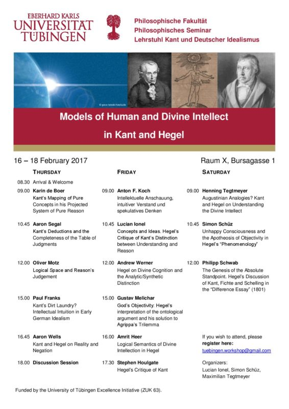 "Workshop: ""Models of human and divine intellect in Kant and Hegel"" (Tubingen, 16-18 Febbraio)"