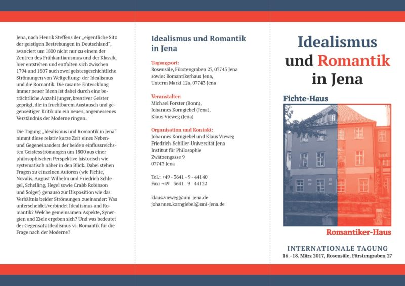 Tagung: Idealismus und Romantik (Jena, 16th-18th March 2017) 1