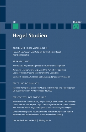 """New Release: """"Hegel Studien"""", Volume 50 - Call for submission for the Volume 51"""