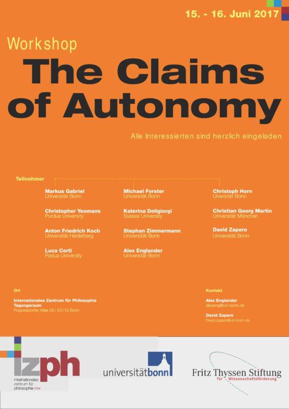 """Workshop: """"The Claims of Autonomy"""" (Bonn, 15-16 June 2017)"""