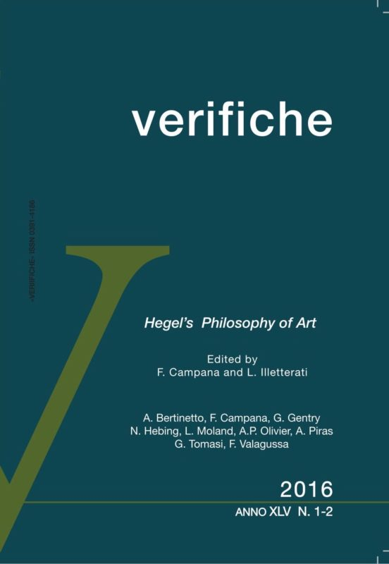 "New Releases: ""Hegel's Philosophy of Art"" (ed. by F. Campana-L. Illetterati), «Verifiche», XLV, N. 1-2, 2016 1"