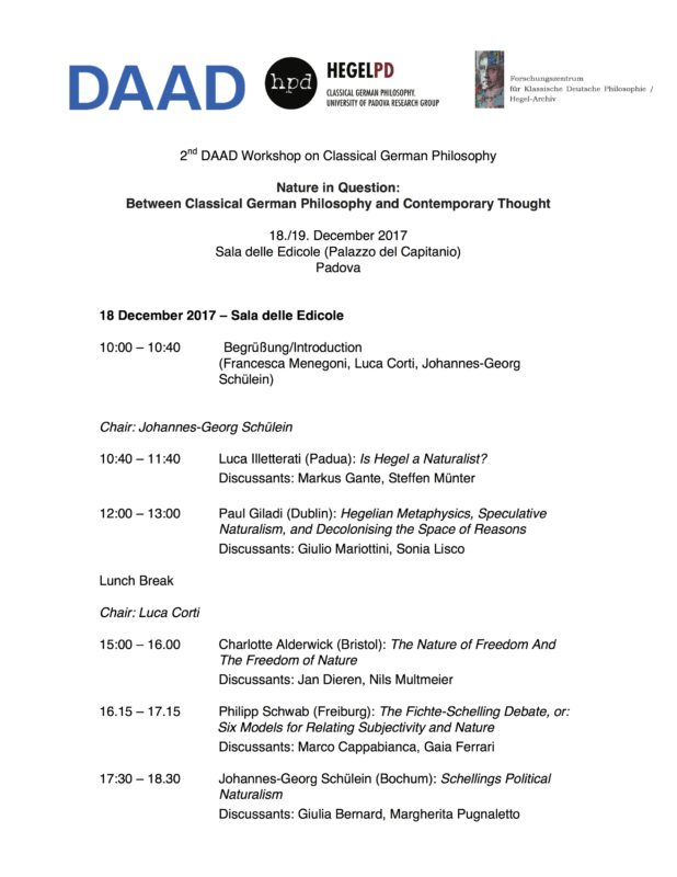 "DAAD Workshop: ""Nature in Question: Between Classical German Philosophy and Contemporary Thought"" (Padova, December 18-19 2017) 1"