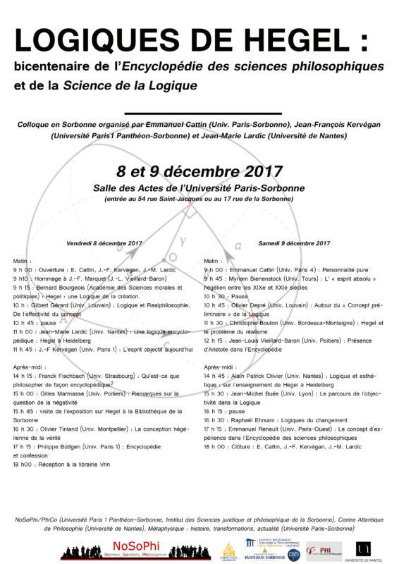 Logiques de Hegel : bicentenaire de l'Encyclopédie des sciences philosophiques et de la Science de la Logique (Paris, December 8th-9th 2017)