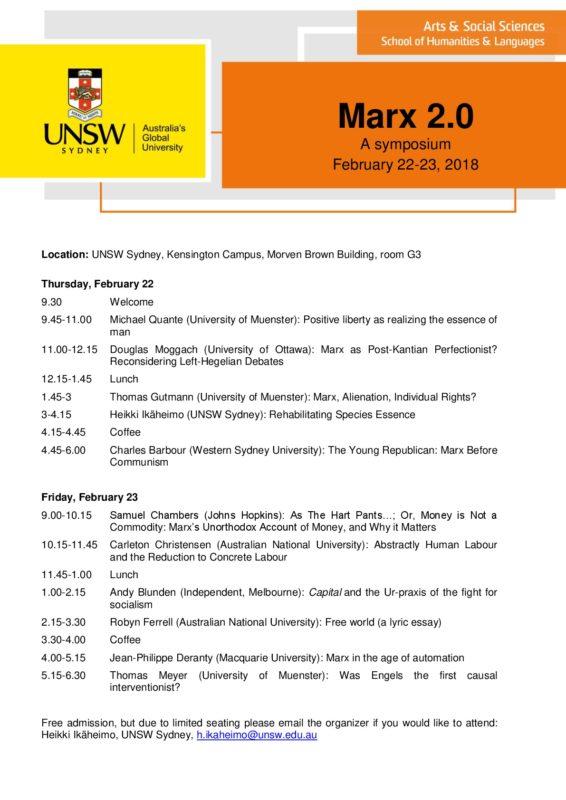 Congress: Marx 2.0 - A Symposium (Sydney, February 22-23 2018)