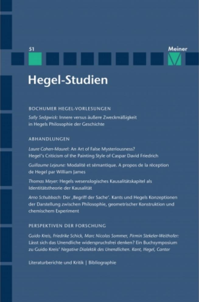"""New Release: """"Hegel Studien"""", Volume 51 1"""