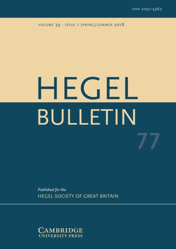 New Release: Hegel Bulletin, Volume 39 - Issue 1 (May 2018)