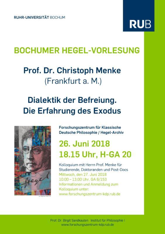 Lecture by Christoph Mencke: «Dialektik der Befreiung. Die Erfahrung des Exodus» (Bochum - June, 26th)