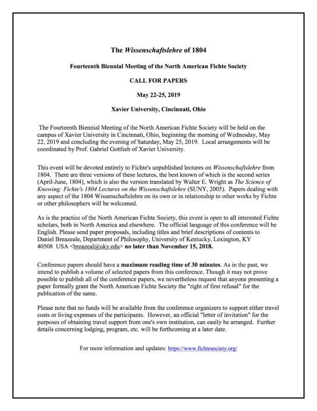 """CFP: Fourteenth Biennial Meeting of the North American Fichte Society, """"Fichte's 1804 Wissenschaftslehre"""", Cincinnati 2019"""