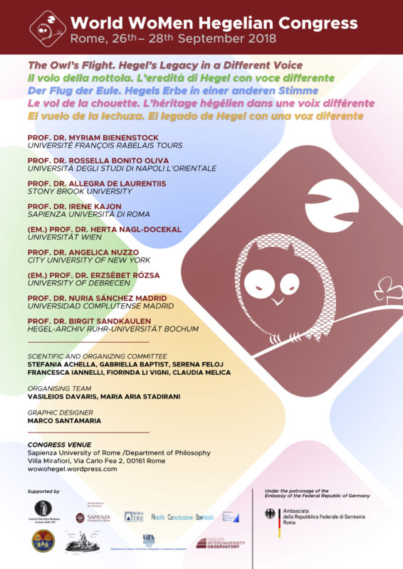 World WoMen Hegelian Congress: 'The Owl's Flight. Hegel's Legacy in a Different Voice' (Rome, 26-28 September 2018)