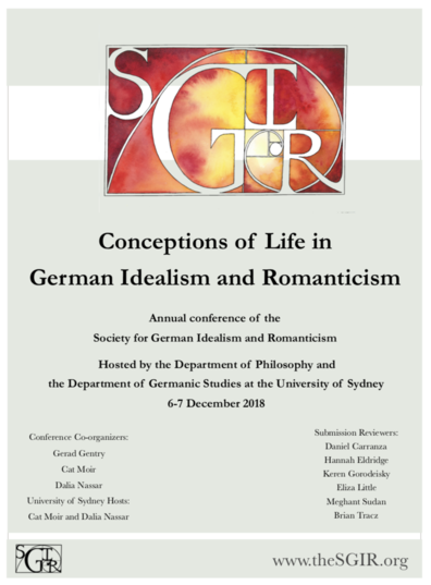 Conference: Conceptions of Life in German Idealism and Romanticism (Sydney, 6-7 December 2018)