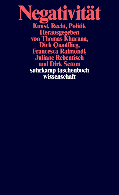 New Release: «Negativität: Kunst - Recht - Politik», ed. by Thomas Khurana, Dirk Quadflieg, Francesca Raimondi, Juliane Rebentisch, Dirk Setton, Berlin: Suhrkamp 2018.