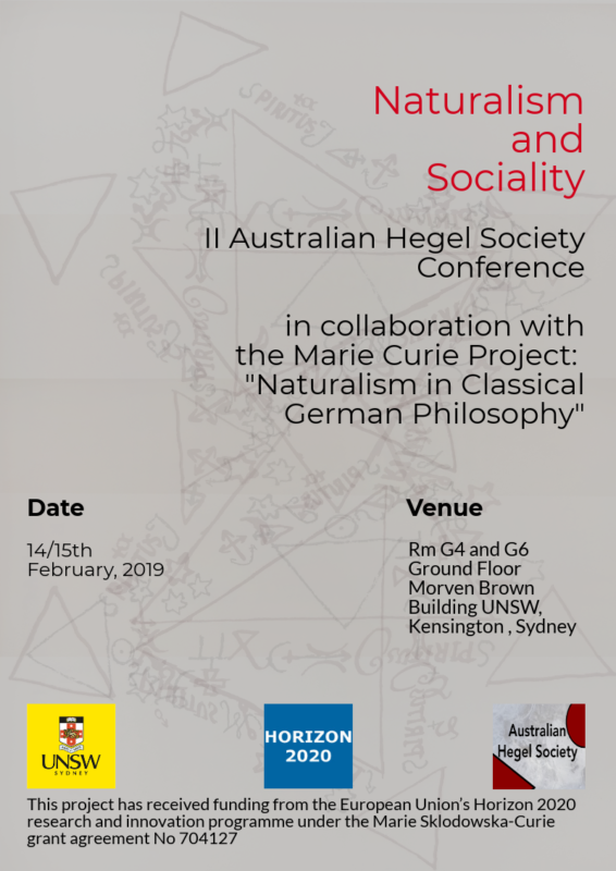 "II Australian Hegel Society Conference in collaboration with the Marie Curie Project 'Naturalism in Classical German Philosophy': ""Naturalism and Sociality"" (Sydney, 14-15 February, 2019)"