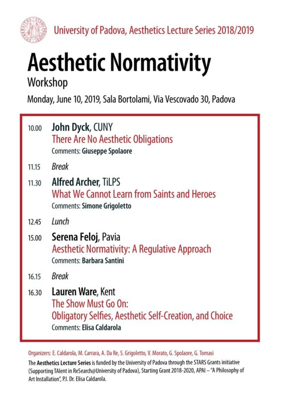 Workshop: Aesthetic Normativity (Padova, 10 June 2019)