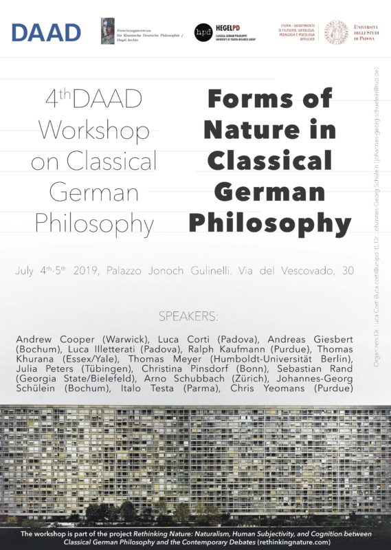 "Workshop (DAAD): ""Forms of Nature in Classical German Philosophy"" (Padua, July 4th-5th 2019)"