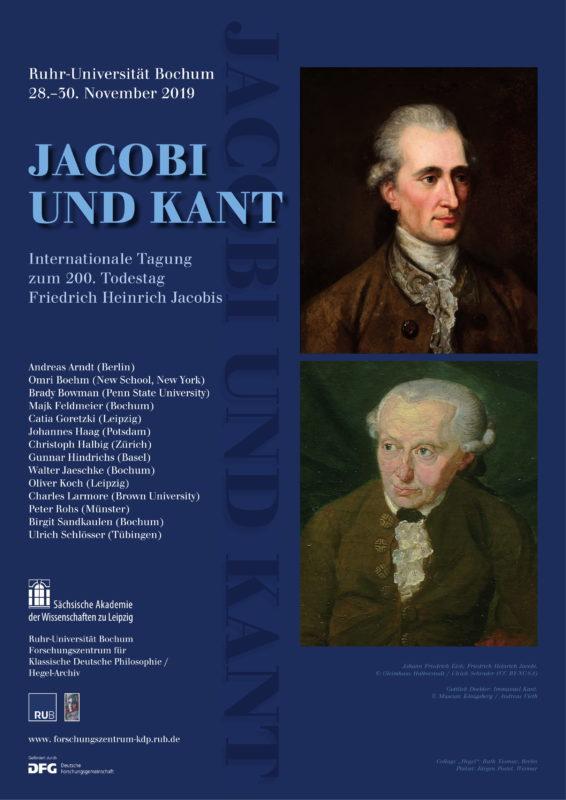 """Internationale Tagung zum 200. Todestag Friedrich Heinrich Jacobis: """"Kant und Jacobi"""" (Bochum, 28-30 November) 1"""