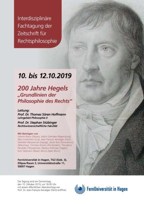 """CONFERENCE: """"200 Jahre Hegels Grundlinien der Philosophie des Rechts"""" (10-12. October 2019, Hagen)"""