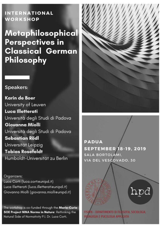 "International Workshop: ""Metaphilosophical Perspectives in Classical German Philosophy"" (Padua, September 18-19 2019)"