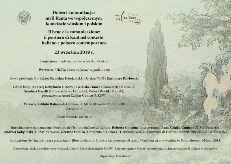 """Simposio: """"Il bene e la comunicazione: il pensiero di Kant nel contesto italiano e polacco contemporaneo"""" (Varsavia, 23 settembre 2019)"""