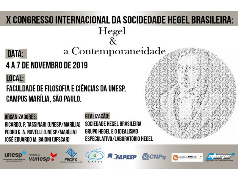 "CONGRESS: ""Hegel and Contemporary Thought"" (4-7 November; Marília 2019)"