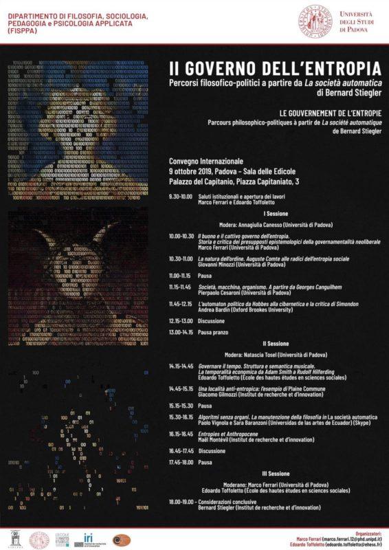 Convegno: Il governo dell'entropia (Padova, 9 ottobre 2019)