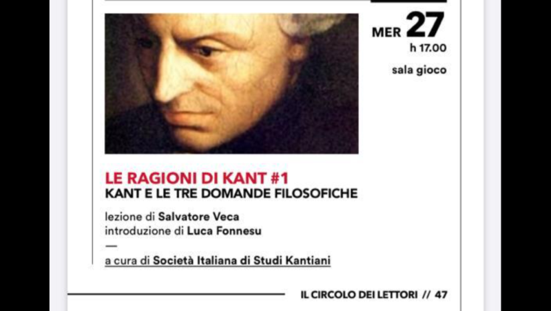 """Lezione: Salvatore Veca, """"Le ragioni di Kant: 1. Kant e le tre domande filosofiche"""" (Torino, 27 novembre 2019)"""