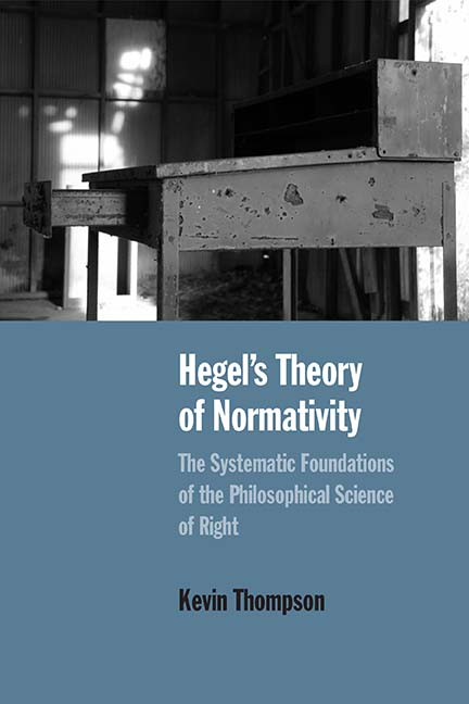 NEW RELEASE: Thompson, Hegel's Theory of Normativity. The Systematic Foundations of the Philosophical Science of Right (Northwestern 2019)
