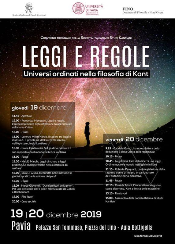 """Evento: """"Convegno triennale della società italiana di studi kantiani"""" (Pavia, 19-20 dicembre 2019)"""