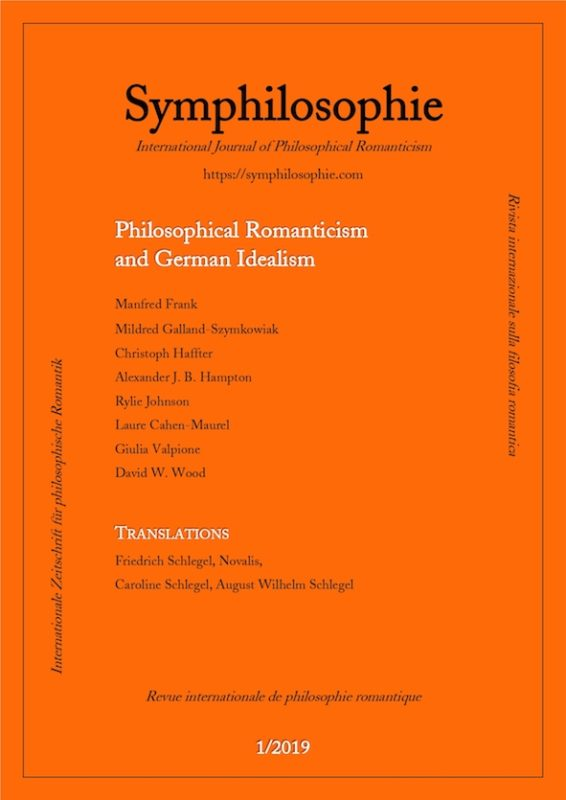 """New Release: Inaugural issue of """"Symphilosophie. International Journal of Philosophical Romanticism"""""""