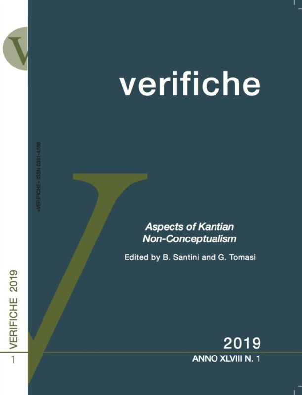 "New release: «Verifiche» (XLVIII, 1/ 2019 ): ""Aspects of Kantian Non-Conceptualism"" (ed. by Barbara Santini and Gabriele Tomasi)"