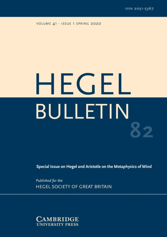 "New Release: Special Issue of Hegel Bulletin ""Hegel and Aristotle on the Metaphysics of Mind"" (Vol. 41, 1)"